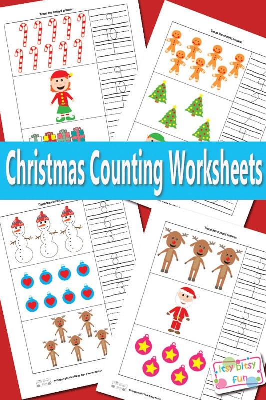 Christmas Counting Worksheets Math - Itsy Bitsy Fun