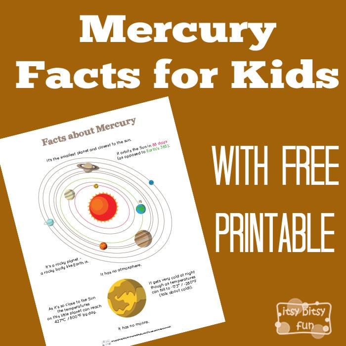 Fun Planet Mercury Facts For Kids Itsy Bitsy Fun
