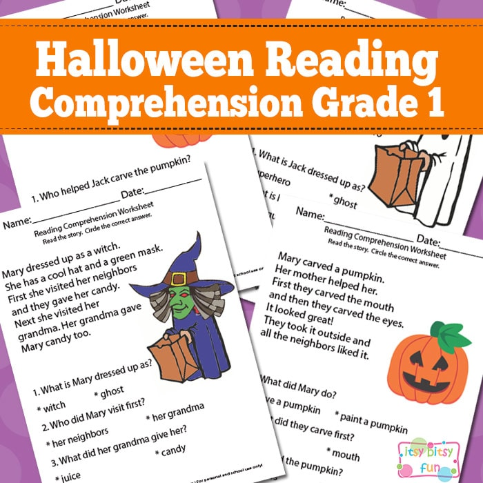 Printable Worksheets halloween homework worksheets : Halloween Reading Comprehension Worksheets for 1st Grade - Itsy ...