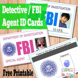 Something strange is going on, a true mystery... Who can solve it? Only the finest detective or a FBI agent in town aka your kid! Playing detectives must be one of the most fun pretend plays ever, we loved it as kids! We would collect fingerprints (on duct tape), look for imaginary clues and question witnesses. Oh what fun! And a badge makes it even more fun (and professional). I made two ID card templates - one blue and one pink.