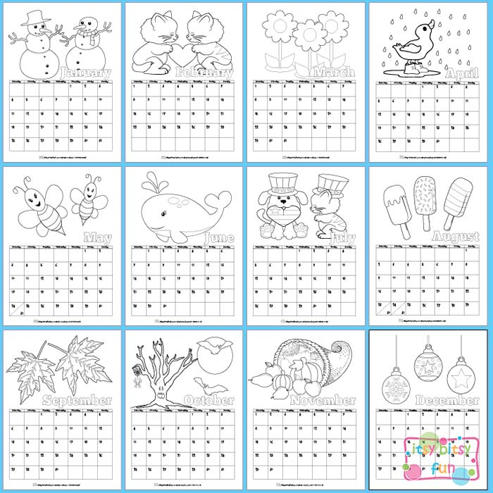 Preschool Xmas Calendar Ideas : Printable calendar for kids itsy bitsy fun