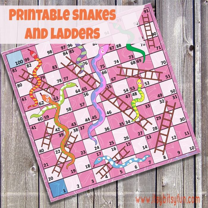 Free printable snakes and ladders itsy bitsy fun for Snakes and ladders template pdf