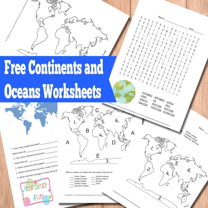 Continents and Oceans Worksheets