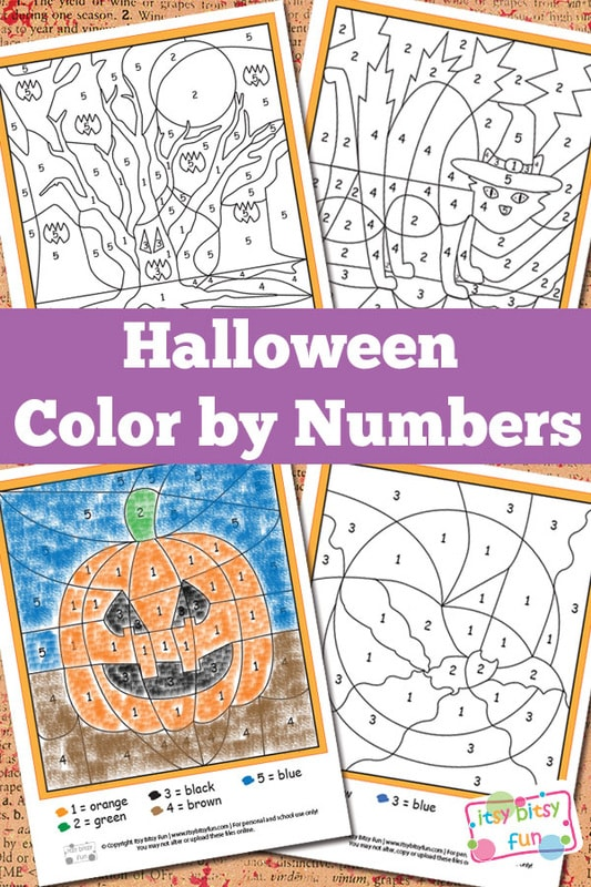 halloween color by numbers worksheets