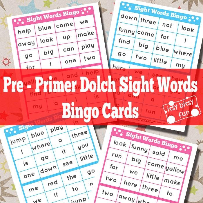 Pre-Primer Dolch Sight Words Bingo Cards