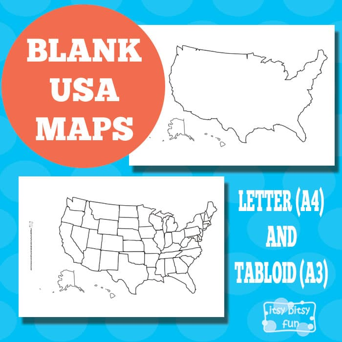 Blank USA Map Itsy Bitsy Fun - Blank usa map