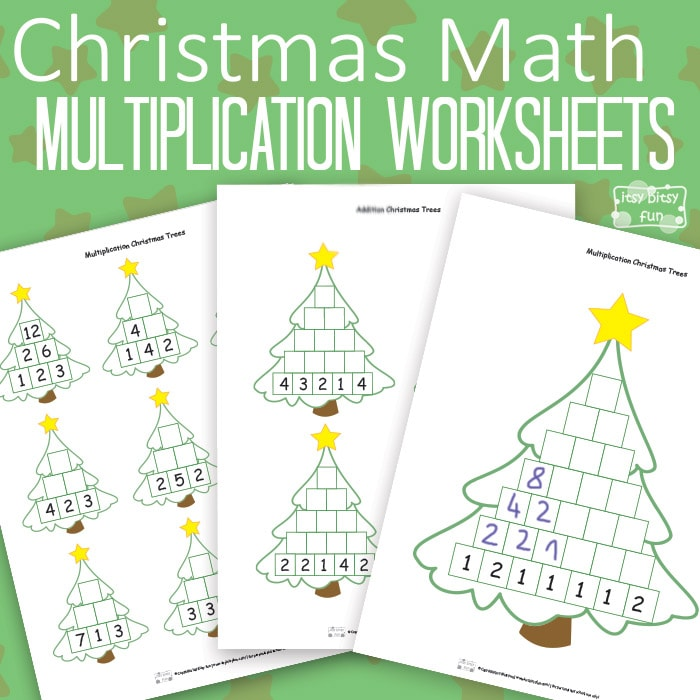 Christmas Math Worksheets Multiplication Tree Itsy Bitsy Fun