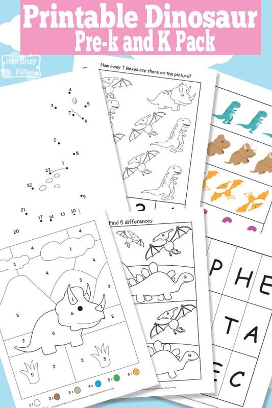 Dinosaur Printable Preschool And Kindergarten Pack - Itsybitsyfun.com