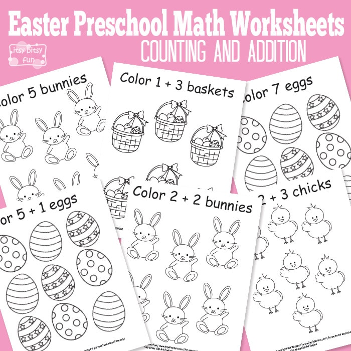 Easter Preschool Math Worksheets - Itsybitsyfun.com
