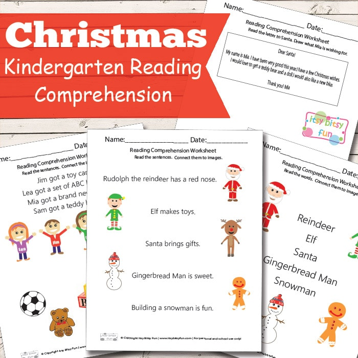 Christmas Reading Comprehension Worksheets for Kindergarten  Itsy