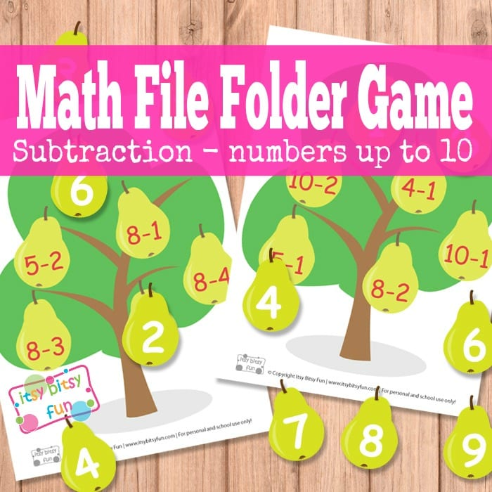 Free Pear Tree Math File Folder Games