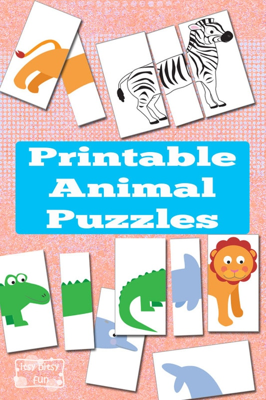 photograph regarding Printable Puzzles for Kids titled Printable Animal Puzzles Fast paced Bag - Itsy Bitsy Enjoyment