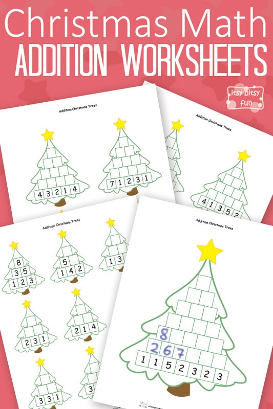 Christmas Math Worksheets Addition Tree Itsy Bitsy Fun – Year 1 Christmas Maths Worksheets