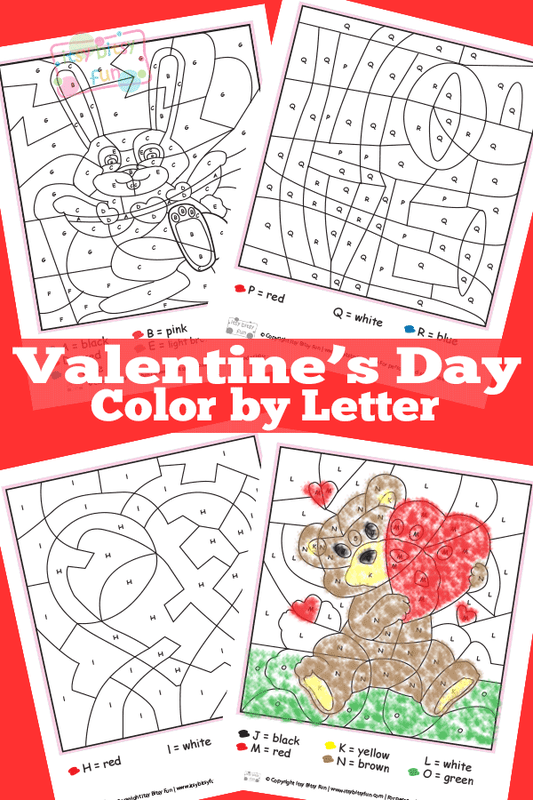 picture relating to Free Printable Valentine Worksheets called Valentines Working day Colour By way of Letters Worksheets - Itsy Bitsy Enjoyment