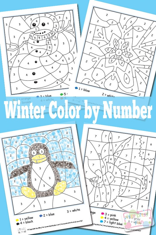 Winter Color By Numbers Worksheets - Itsybitsyfun.com