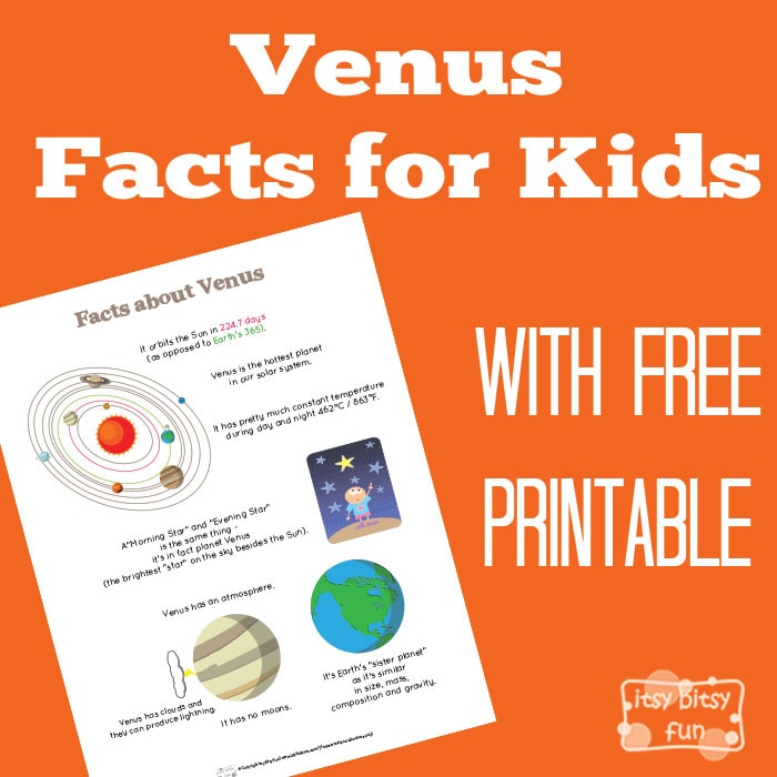 Fun Planet Venus Facts Free Printable for Kids
