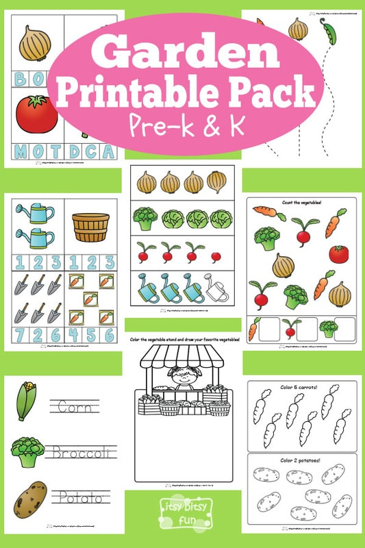 Garden Printable Worksheets for Kindergarten and Preschool