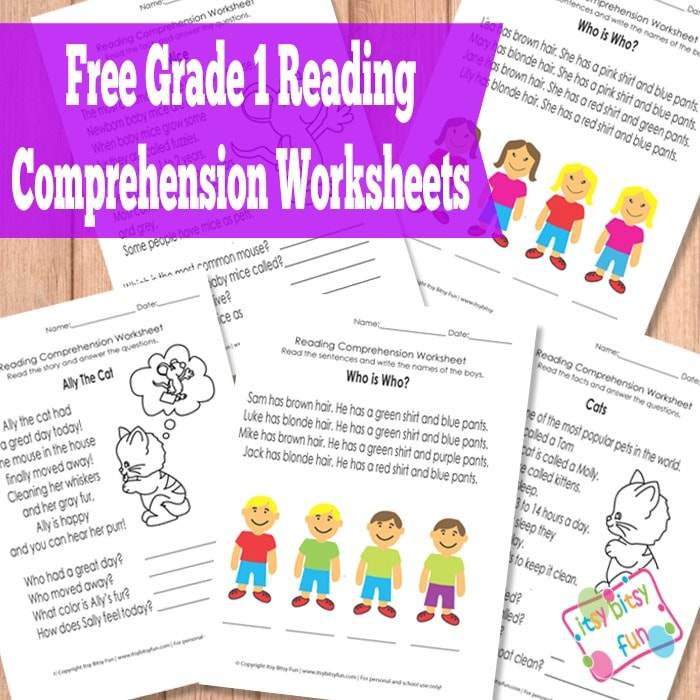 Printable Worksheets reading worksheets for grade 1 : Grade 1 Reading Comprehension Worksheets - Itsy Bitsy Fun