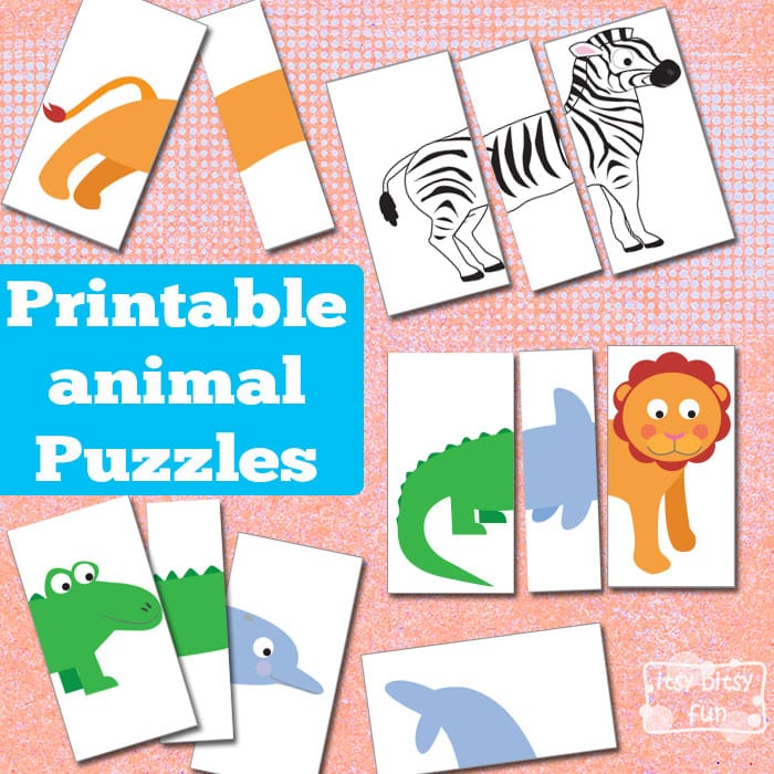 photo regarding Puzzles for Kids Printable named Printable Animal Puzzles Chaotic Bag - Itsy Bitsy Entertaining