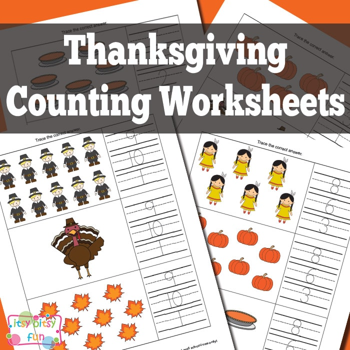 Thanksgiving Counting Worksheets - Itsybitsyfun.com