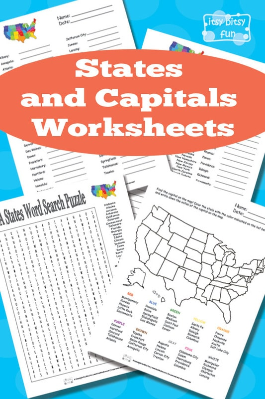 States and Capitals Worksheets Printables