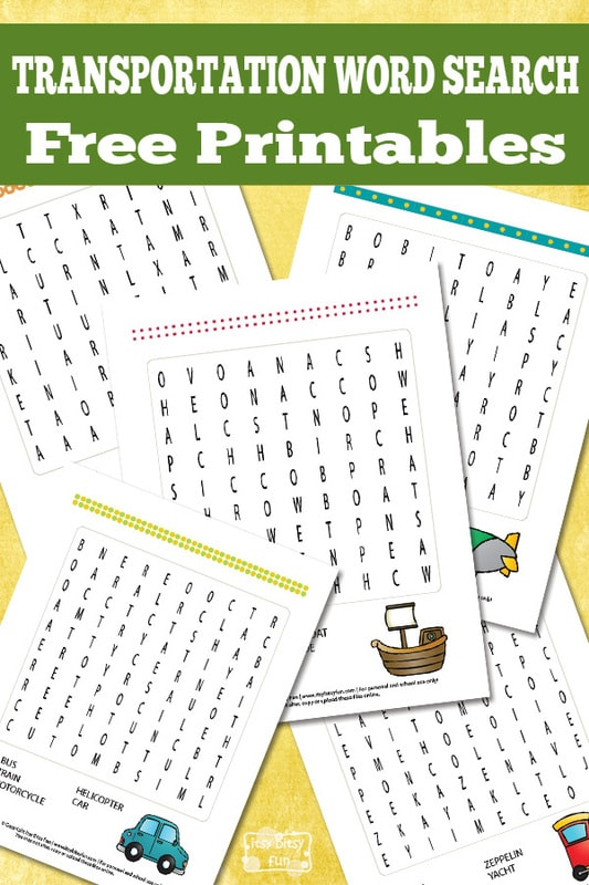 Transportation Word Search Puzzles Itsy Bitsy Fun