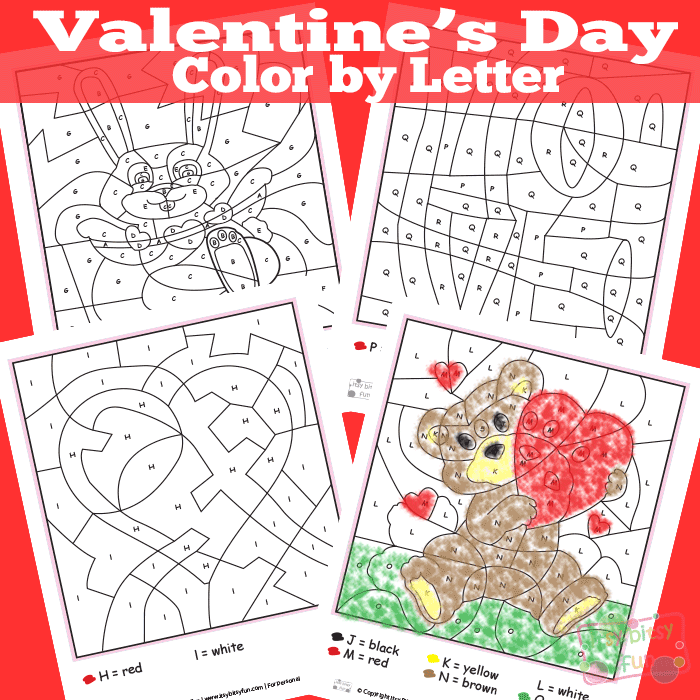 Valentines Day Color By Letters Worksheets Itsy Bitsy Fun