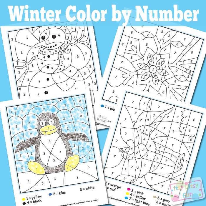 Winter Color By Numbers Worksheets Itsy Bitsy Fun